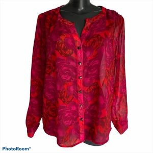 JESSICA Red, long sleeve blouse, size petite 14 P